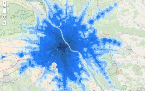 Mapa dostępności transportu publicznego w aglomeracji warszawskiej